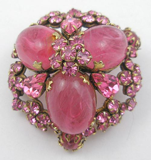 Newly Added Highly Domed Pink Glass Brooch