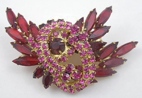 Brooches - Delizza & Elster Red & Pink Spray Brooch
