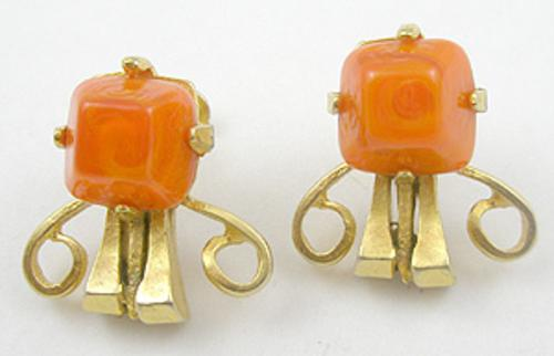 Castlecliff - Castlecliff Orange Art Glass Earrings