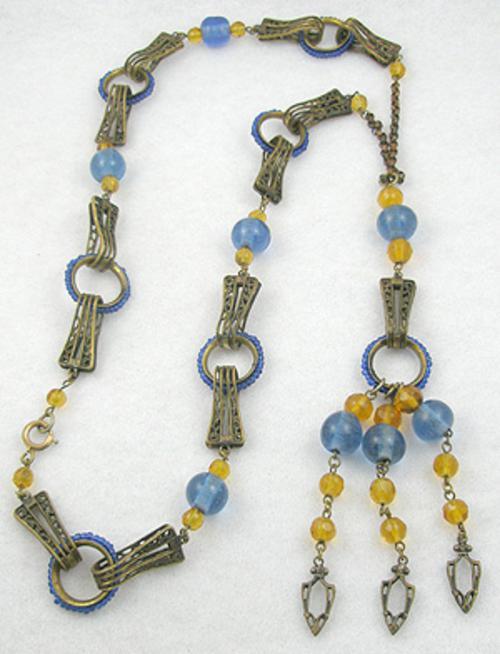 Art Deco - Art Deco Topaz & Blue Bead Sautoir Necklace