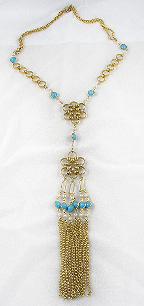Necklaces - Gold Circle Tassle Necklace