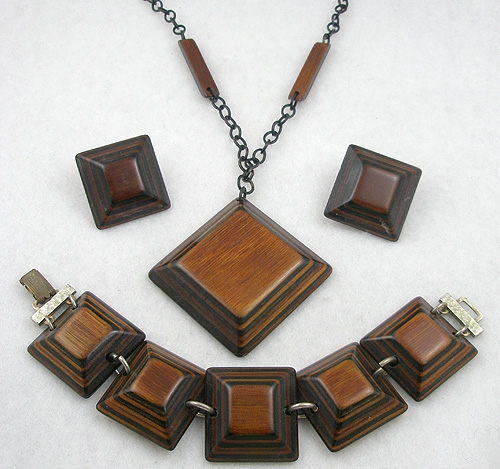 Wooden Jewelry - Wooden Square Links Parure
