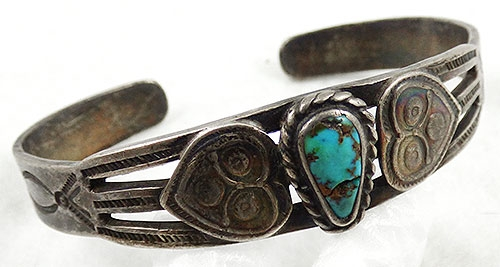 Native American - Navajo Vintage Sterling Turquoise Cuff Bracelet