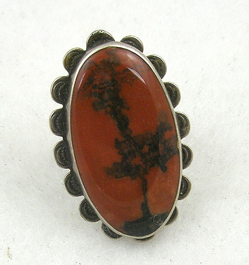 Semi-Precious Gems - Old Pawn Navajo Petrified Wood Sterling Ring