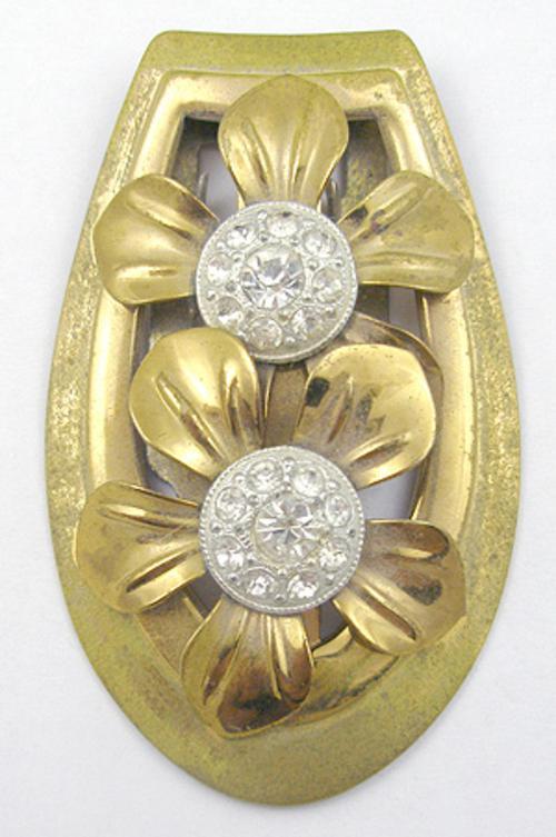 Dress & Fur Clips - Brass Flowers Dress Clip