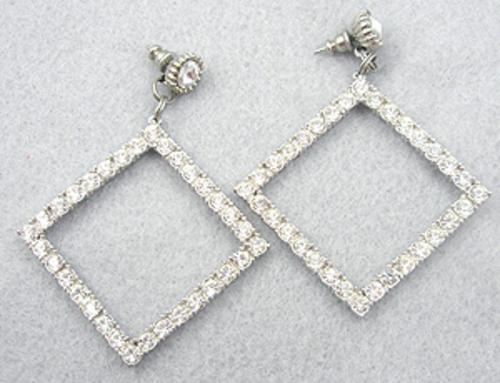 Earrings - Rhinestone Square Hoop Earrings