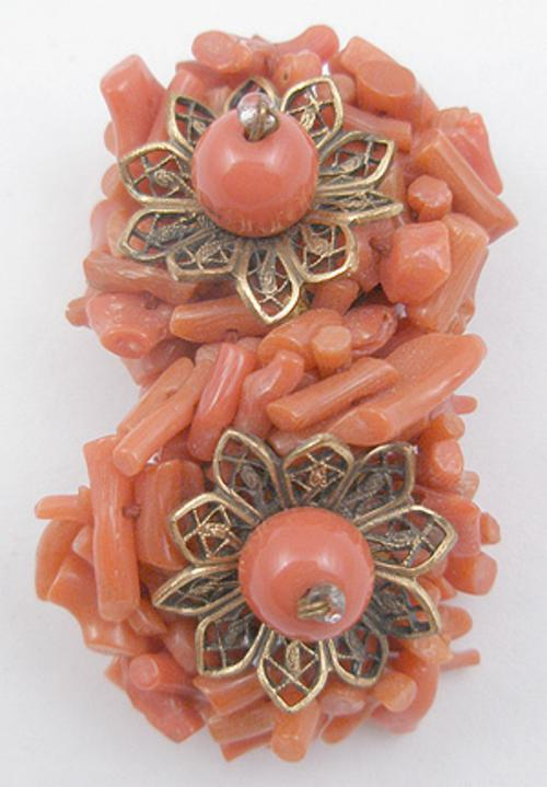 Coral Jewelry - Miriam Haskell Coral Dress Clip
