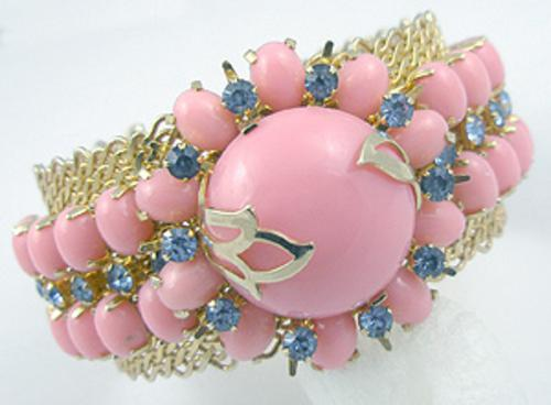 Newly Added Pink Glass Cab Gold Tone Mesh Cuff