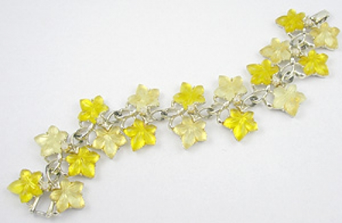 Summer Hot Colors Jewelry - Yellow Lucite Leaves Bracelet