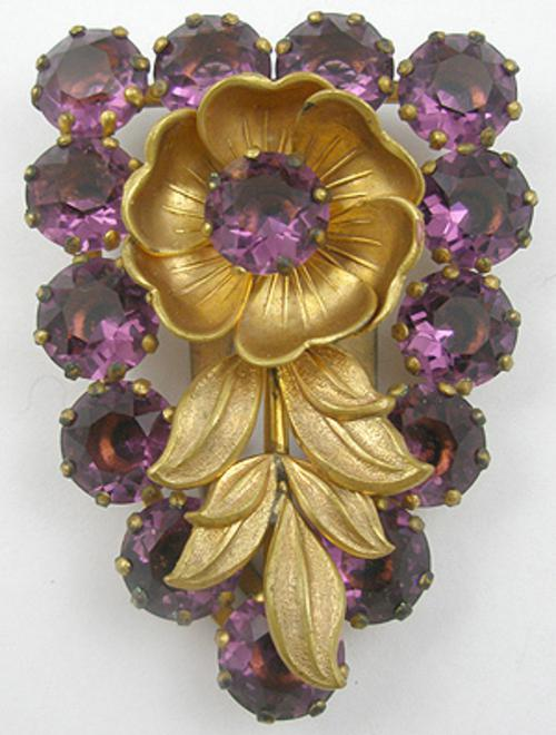 Misc. Signed M-R - Max Neiger Amethyst Rhinestone and Flower Dress Clip