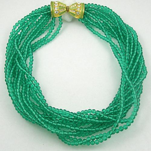 Lane, Kenneth J. - Kenneth J. Lane Green Glass Bead Torsade Necklace
