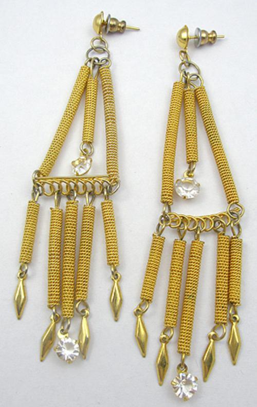 Earrings - Gold Spiral Chandelier Earrings