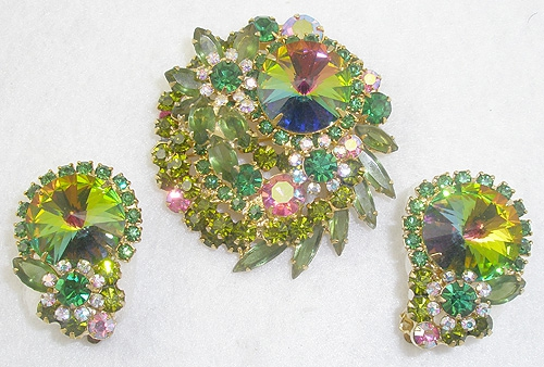 DeLizza & Elster/Juliana - DeLizza & Elster Green Rivoli Brooch Set