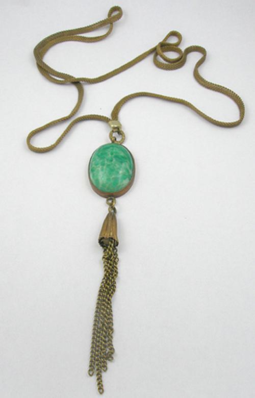 Necklaces - Art Deco Green Glass Sautoir