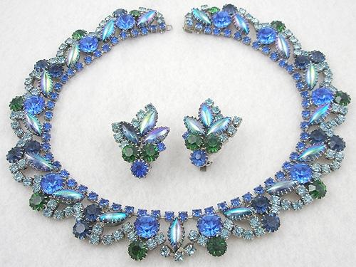Sets & Parures - Blue, Green & Aqua Rhinestone Necklace Set