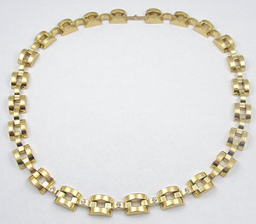 Necklaces - Gold Plated Tank Track Necklace