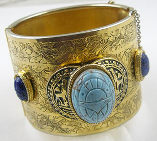 Newly Added Egyptian Revivial Wide Hinged Bracelet