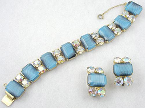 Sets & Parures - Teal Art Glass Bracelet Set