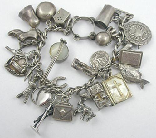 Newly Added Vintage Silver Charm Bracelet