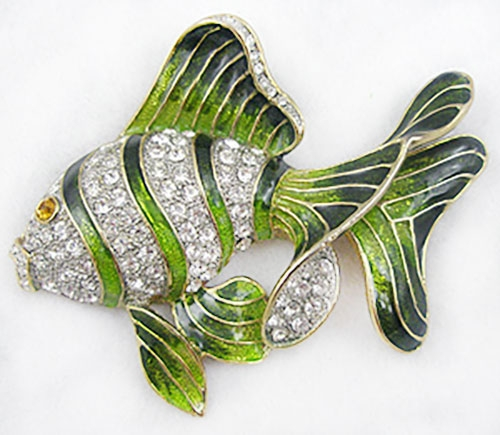 Figural Jewelry - Birds & Fish - Green Enameled Rhinestone  Fish Brooch