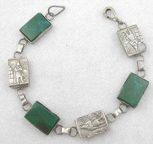 Art Deco - Art Deco Sterling Panel and Green Jasper Bracelet