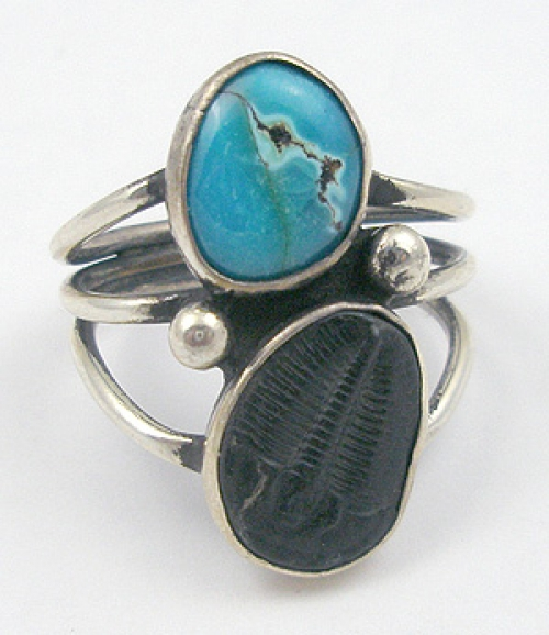Native American - Native American Trilobite & Turquoise Ring