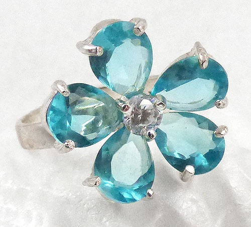 Rings - Aqua Cubic Zirconia Flower Ring