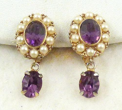 Newly Added Amethyst Rhinestone Pearl Earrings