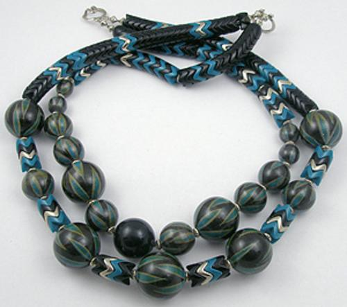 Necklaces - Black & Teal Bead Necklace