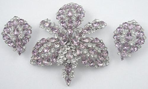 Florals - Lavender Rhinestone Orchid Brooch Set