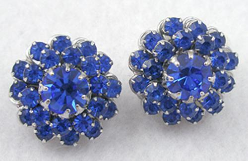 Earrings - Vendome Blue Rhinestone Earrings