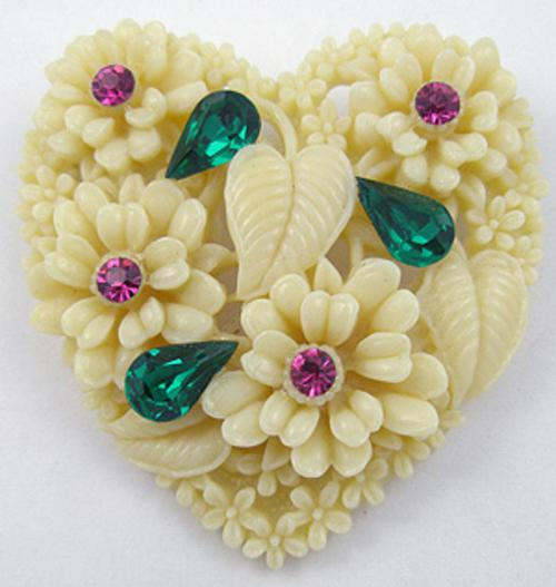 Hearts - Celluloid Heart Brooch