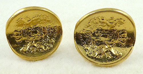 Men's Jewelry - Gold Tone Coin Cufflinks