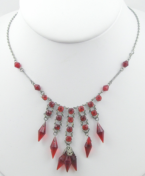 Crystal Bead Jewelry - Art Deco Red Crystal & Rhinestone Necklace