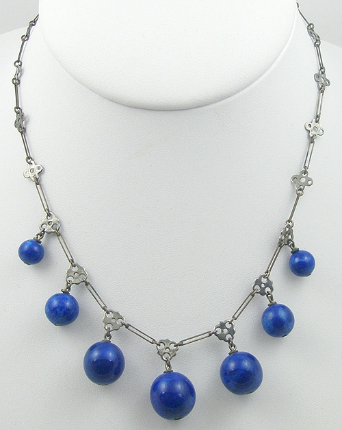 Pantone Color of the Year 2020 - Art Deco Lapis Glass Bead Necklace