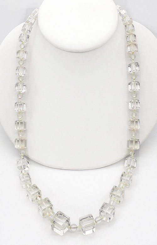 Semi-Precious Gems - Rock Crystal Square Beads Necklace