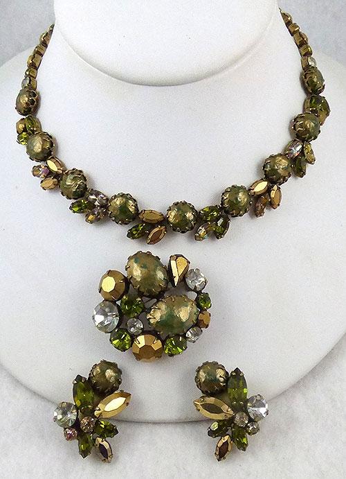 Sets & Parures - Regency Gold & Green Rhinestone Parure