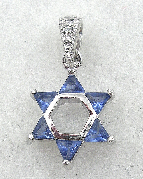 Necklaces - Sterling Sapphire CZ Star of David Pendant