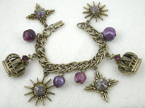 Crowns & Heraldic Jewelry - Crowns & Stars Charm Bracelet