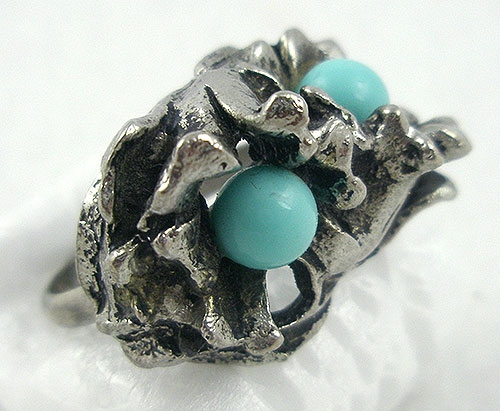 Rings - Vintage 3-D Silver Plated Tulip Ring