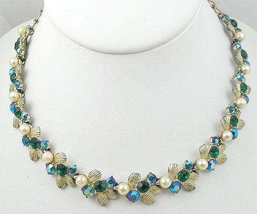 Necklaces - Vintage Green Rhinestone & Aurora Necklace