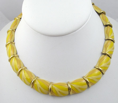 Summer Hot Colors Jewelry - Vintage Yellow Enamel Necklace