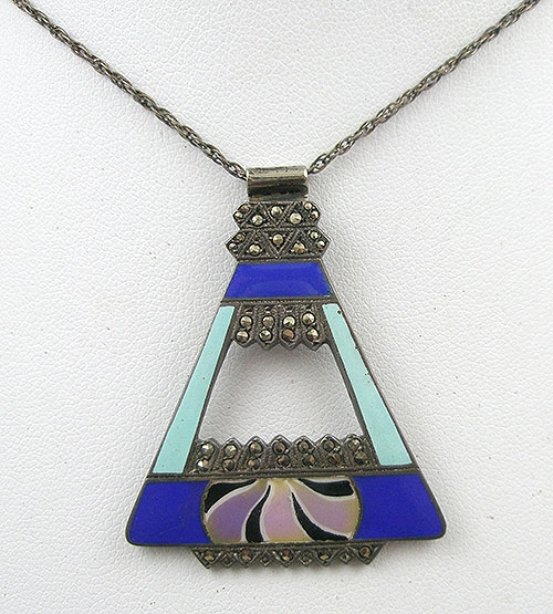 Art Deco - German Sterling Enamel and Marcasite Necklace