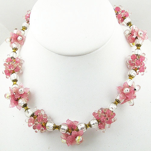 Italy - Vintage Pink Blown Glass Flower Beads Necklace