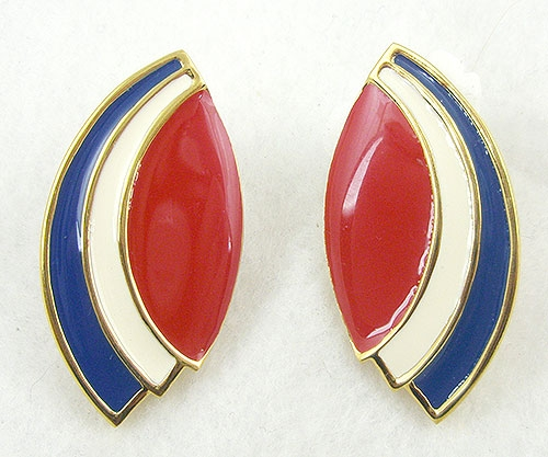 Patriotic Jewelry - Monet Patriotic Enamel Earrings