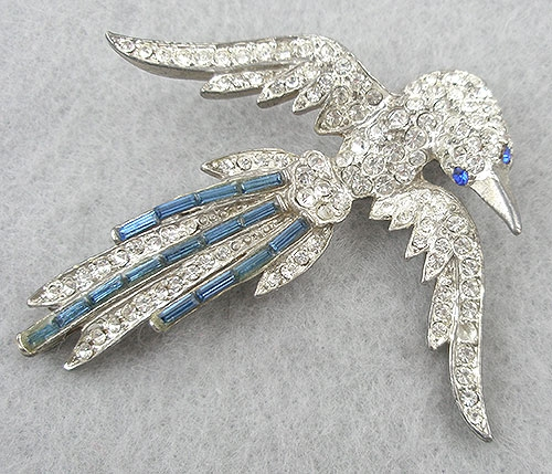 Figural Jewelry - Birds & Fish - 1930's Art Deco Rhinestone Bird Brooch