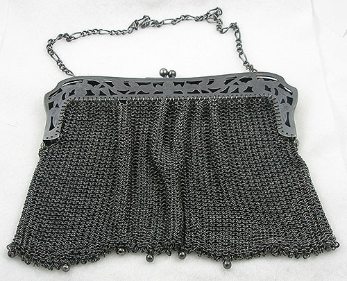 Purses - French Gun Metal Chain Mesh Purse