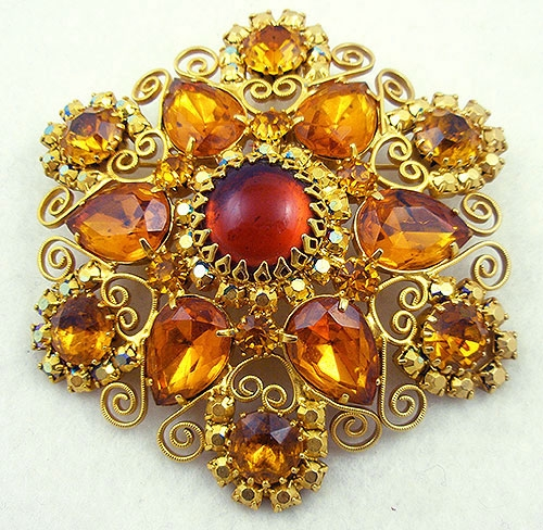Autumn Fall Colors Jewelry - DeLizza and Elster Topaz Rhinestone Headlight Brooch