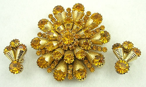 Sets & Parures - Topaz Rhinestone Gold Cones Brooch and Earrings