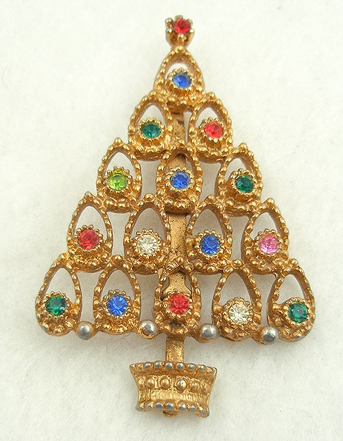 Christmas and Holidays - Vintage Rhinestone Christmas Tree Brooch